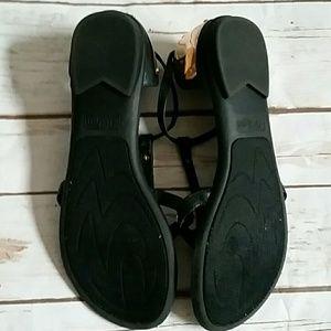 Zigi Girl Shoes - Black and Gold Sandals